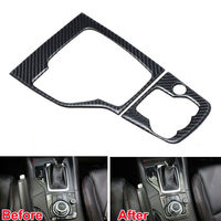 BBQ@FUKA Car Interior decoration decals Real Carbon Fiber Gear Shift Panel Cover Trim for Mazda 3 Axela 2013 2015 car accessory