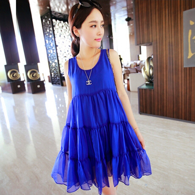 Корея беременным летом мода беременным беременные женщины большие ярдов жилет платье многослойные гофрирования беременность одежда