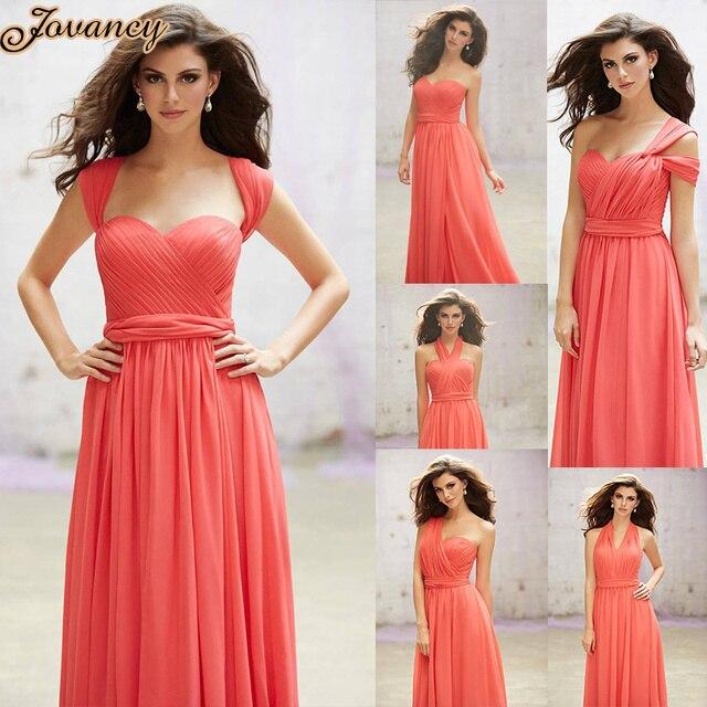 Elegant Convertible 6 Styles Chiffon A line Prom Dress Peach Red ...