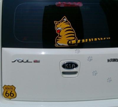 Lijep kreativni crtani mačak pokretni rep reflektirajuće naljepnice - Vanjska auto oprema - Foto 3