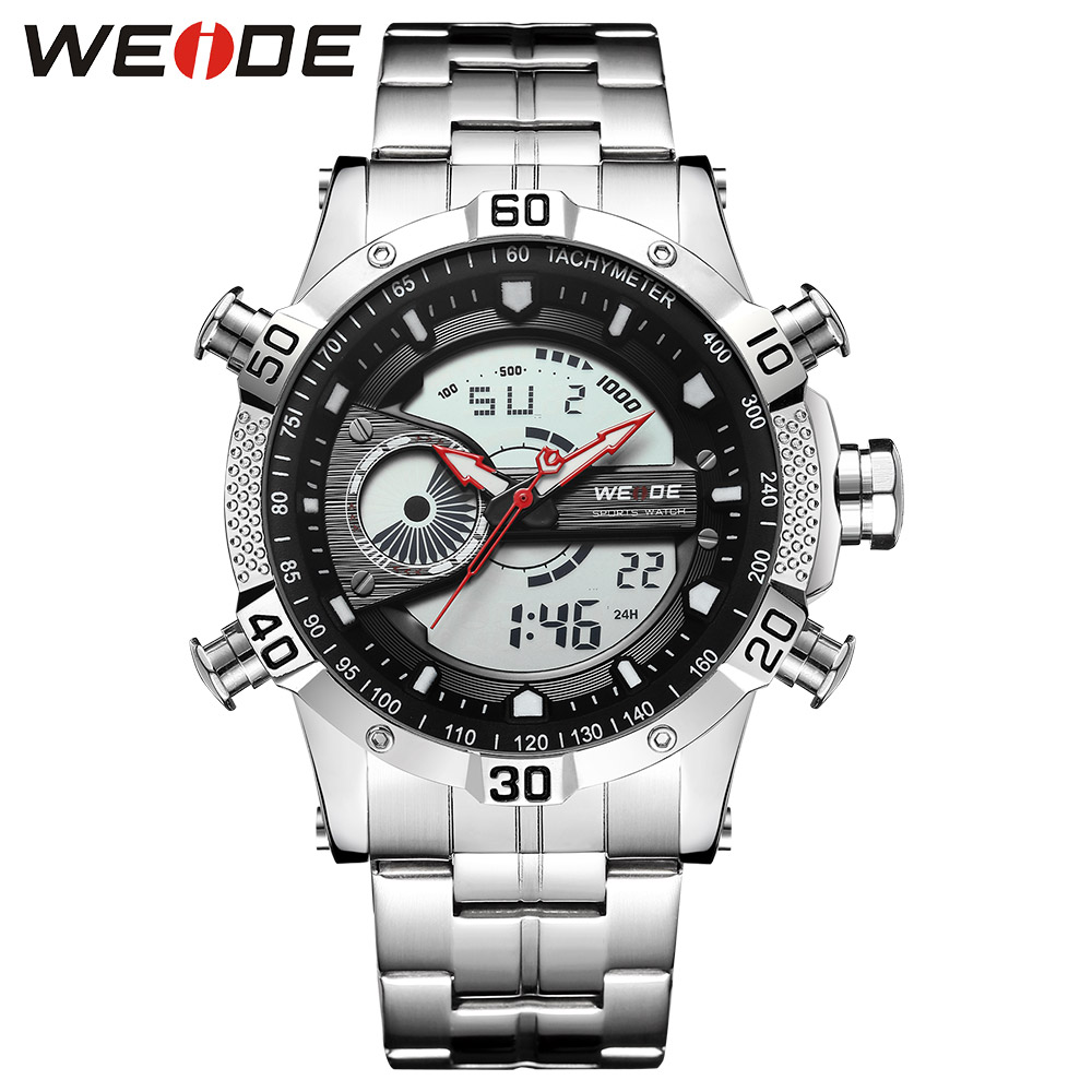 WEIDE Luxury Brand Sports Men Digital Movement Auto Date Chronograph Alarm Repeater Calendar Stainless Steel Strap Quartz Watch