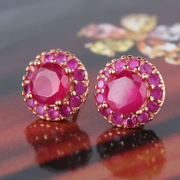4e01d4005 New Brand Rose Gold Red Gem Stone Bridal Stud Earrings for Women Statement  Earring Austrian Crystals Stud Earrings E308d-in Stud Earrings from Jewelry  ...