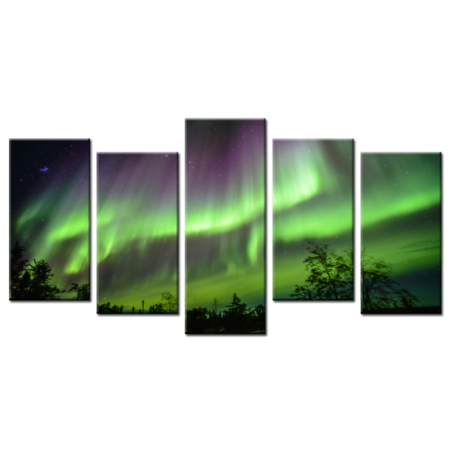 5 Piece Modern Picture Paintings Nature Landscape Northern Lights ...