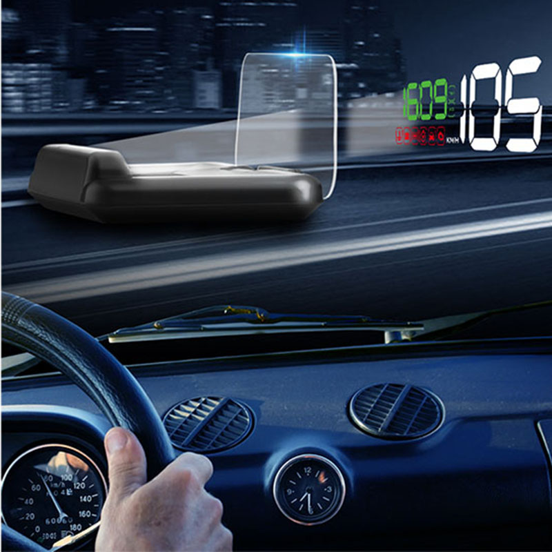 C500 HUD Universal Head Up Display Car Speedometer Digital Horizontal Reflective Projector Car Speed Detector Auto Electronic