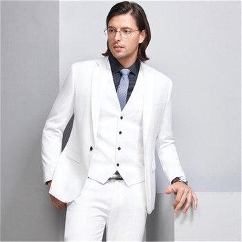 Blazer De Lino Para Hombre | Trajes De Hombre Hechos A Medida Blanco De Alta Calidad Slim Fit Formal Blazer 3 Piezas Trajes De Boda Para Chaqueta De Hombre + Pantalón + Chaleco