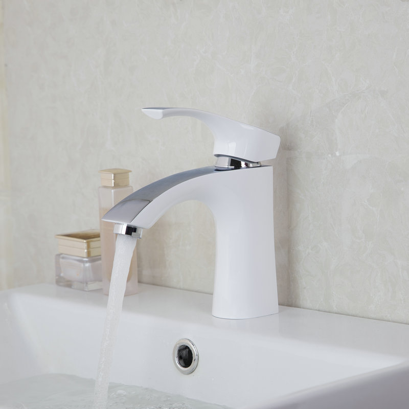 White Bathroom Taps aliexpress : buy white painting solid brass bathroom sinks tap