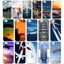 06DF Airplane At The Sunrise aircraft plane design Hard Transparent Cover Case for iphone 4 4s 5 5s se 6 6s 8 plus 7 7 Plus X(China)