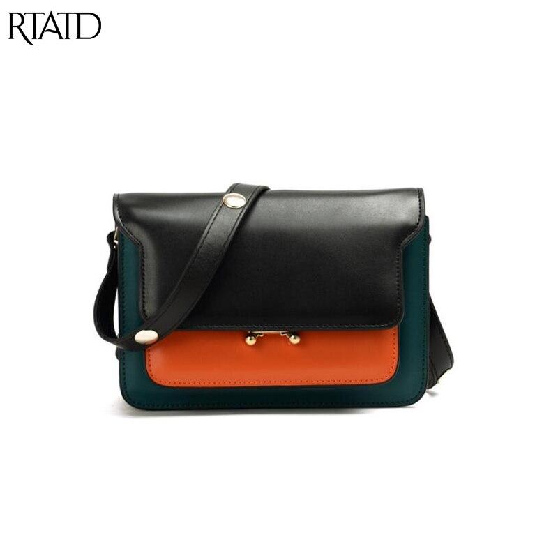 RTATD New Trunker Panelled Messenger Bags Women Cowhide Split Leather Handbags Ladies Crossbody Bag For Female B154