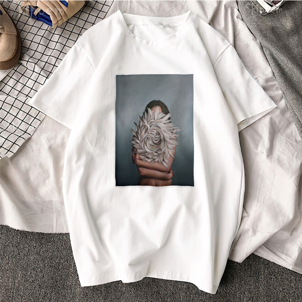 New Cotton Aesthetics T shirt Sexy Flowers Feather Printed Fashion Casual Couple T Shirt 27