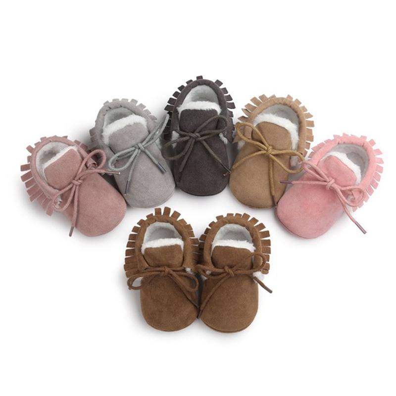 Baby Moccasins Infant Soft Moccs Shoes Baby First Walkers Fringe Soled Non-slip Footwear Crib Shoes PU Leather