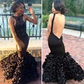 Sexy Mermaid Prom Dress 2017 Unique Scalloped Appliques Backless Ombre Prom Dress Cheap Black Prom Gown dress for graduation