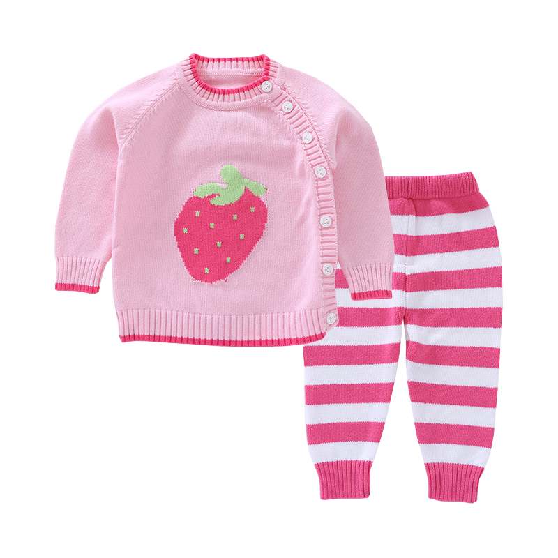 Mioigee Baby Girls Sets 2018 Spring Wool Knit Cartoon Pattern Boy Set Sweater +Pants 2 Pcs Toddler Girls Infant Children Clothes