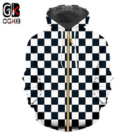 OGKB Zip Hoodies Men's Cool Print Black White Grid 3D Sweatshirt Hoodie New Harajuku Man Hiphop Long Sleeve Hooded Cardigan 6xl