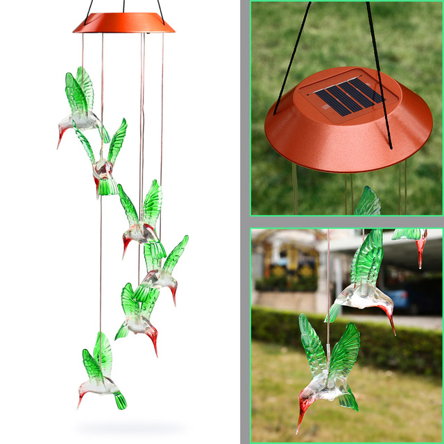 Hot Fashion Solar Color Changing Wind Chime Light Led Outdoor Hummingbird Chimes