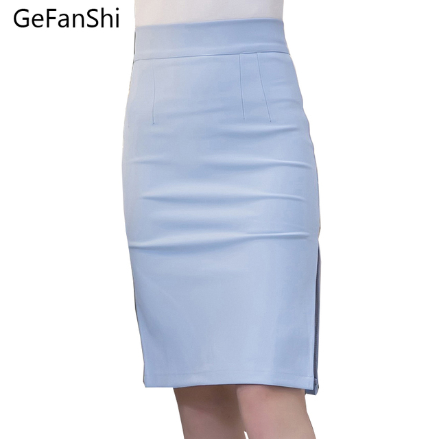 2a427e0285 2019 New Fashion Sexy Slim Spring Autumn Women Pencil Skirt High Waist  Stretch fabrics Side Split OL Lady Skirt Plus Size S--5XL