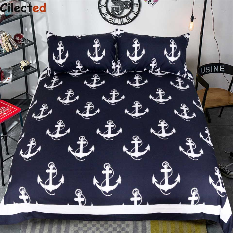 Cilected Anchor Printed Bedding Set 3Pcs Blue Cotton Bed Cover For Living Room Bedclothes Linen With
