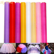 48CMx5M Tulle Roll Crystal Fabric Organza Tulle Roll Spool Wedding Decoration Birthday Party Kids Baby Shower car decoration 7Z