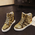 Luxury brand shoes woman lady high top shoes lace up creepers woman ankle high flats gold silver shoes woman shiny leather flat