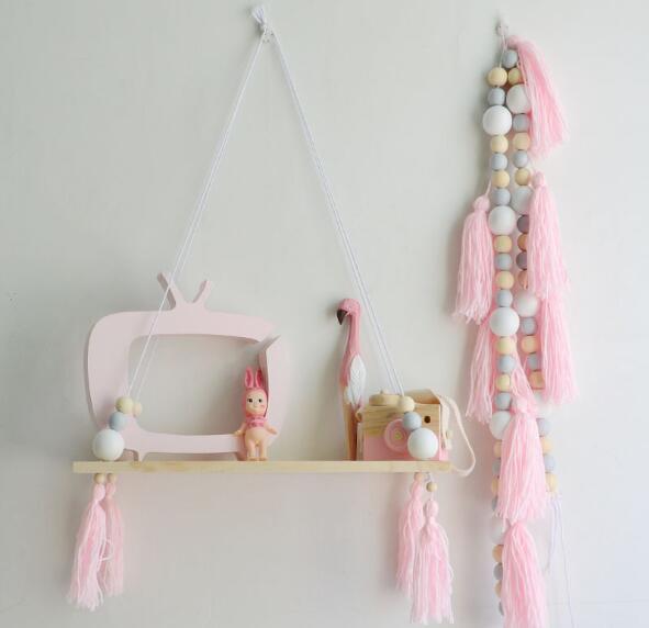 Wall Hanging Wood Shelf Rope Swing Shelves Storage Holder Baby Kids Room Decor