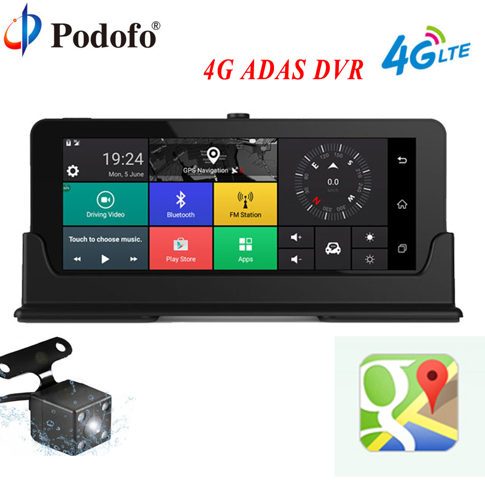 Podofo Car DVR Camera GPS Navigation 7 4G ADAS Touch Dashcam WiFi Bluetooth FHD 1080P DVRs Rearview Camera Recorder Registrar