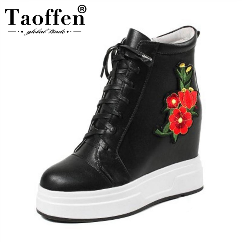 TAOFFEN Ankle Boots Women Genuine Leather Winter Shoes Lace Up Embroidery Short Boots National Style Ladies Shoes Size 32-40TAOFFEN Ankle Boots Women Genuine Leather Winter Shoes Lace Up Embroidery Short Boots National Style Ladies Shoes Size 32-40