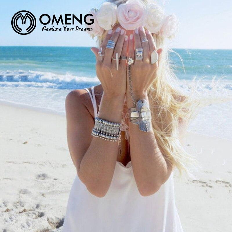 OMENG Silver Bohemian Antalya Bracelet Flower Statement Boho Coachella, Festival Turkish Jewelry handmade Tribal EthnicOSL040