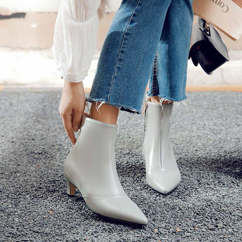 2019 새로운 도착 지적 발가락 지퍼 암소 가죽 얇은 발 뒤꿈치 발목 부츠 하이힐 솔리드 오피스 레이디 따뜻한 겨울 신발 l00 유지-에서앵클 부츠부터 신발 의  그룹 3
