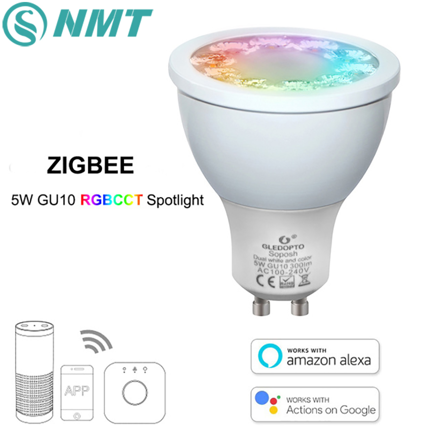 ZIGBEE RGBCCT 5W GU10 LED Spotlight Dimmable Smart Voice Control LED Bulbs AC100-240V LED APP Controller Work With Amazon Echo
