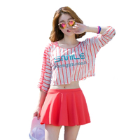 2017 Summer Beach High Quality 3 Pieces Striped Letter Sexy Women Bikini Swimwear Solid Skirt Bottom