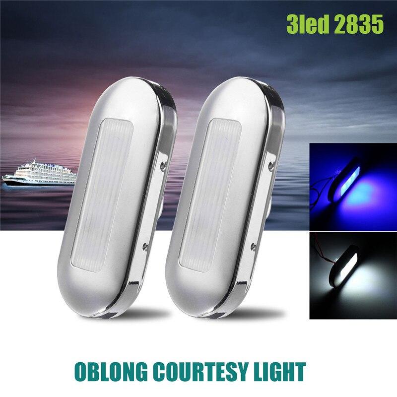 2pcs Ship Lights 0.5W LED <font><b>Marine</b></font> Boat Yacht Stainless Steel Anchor Stern Light Blue/White DC12V Waterproof IP67