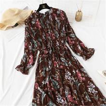 Женское винтажное платье во французском стиле шифоновое летнее