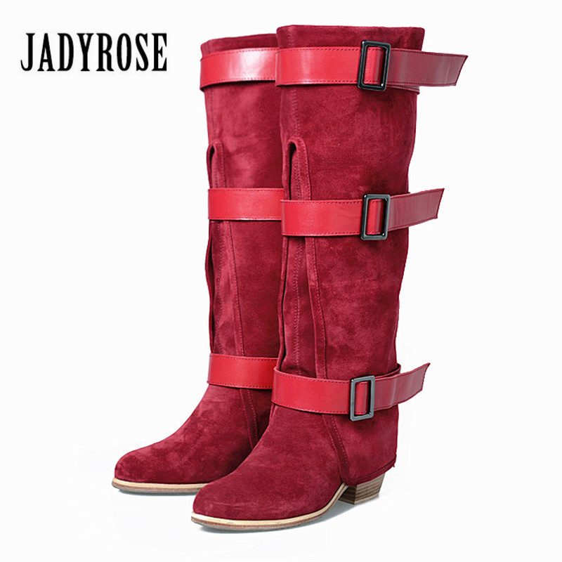 Jady Rose Red Women Knee High Boots Suede Female Straps Chunky High Heel Boots for Winter Pointed Toe Platform Rubber Boot jady rose fashion stretch fabric ankle boots for women chunky high heel sock boot elastic pointed toe female back zip high boots
