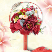 New Unique Fan Type Wdding Flower Broach Jeweled Crystal Bridal Bouquet Red Silk Rose Wedding Boquets Ramo de la boda