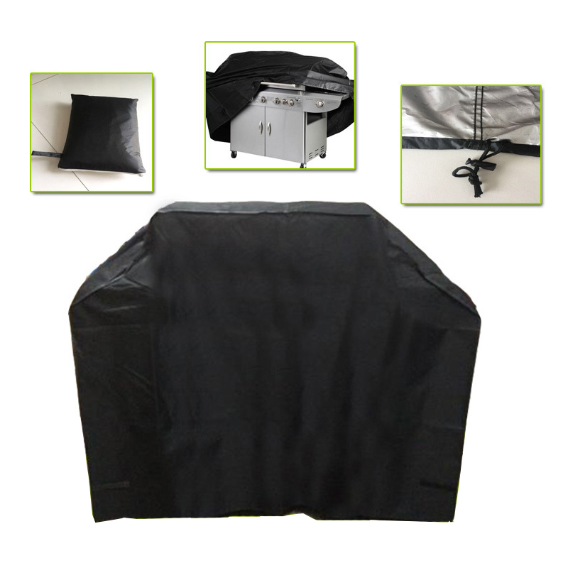 210D Black Waterproof BBQ Grill Cover Outdoor Barbeque Protective Cover Rainproof Dustproof BBQ Accessories