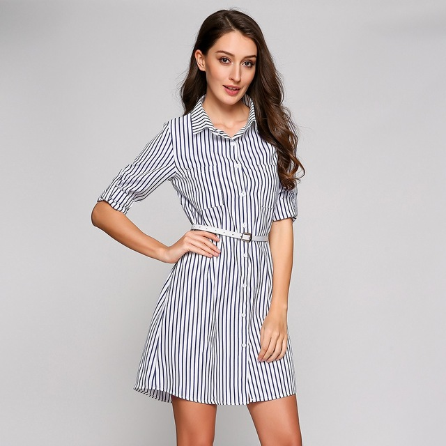 a9a761d1033 Striped Shirt Dress Women Casual Fashion Roll Up Long Sleeve Button Down  Pocket Turn Down Collar Shirt Dress with Belt