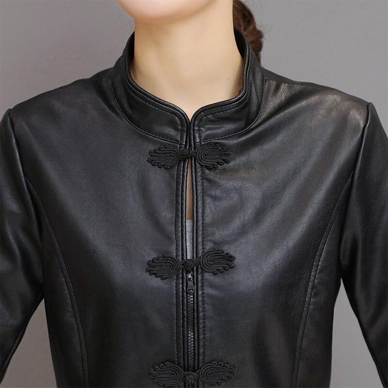 Manches Noir Pu Printemps Mardarin Faux Style Femelle Bouton Chinois Collier Mince Rugular Zipper En National Vestes Cuir Longues Femmes fwq8O