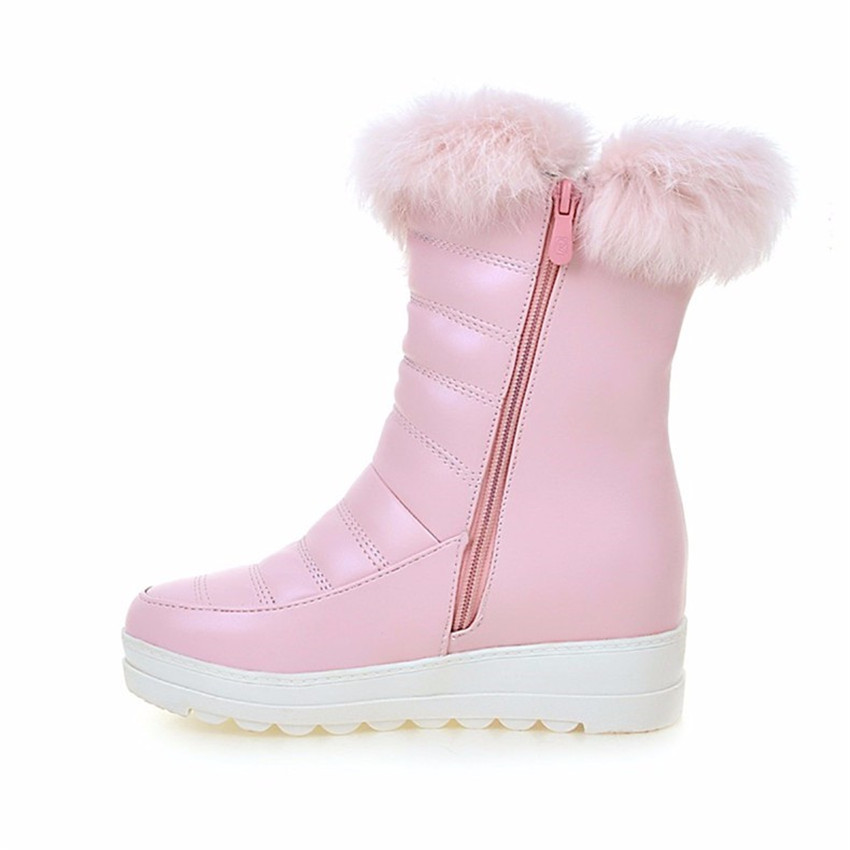 Winter Warm Boots Women Wedges Platform Mid-Calf Snow Boots Woman Short Boots High Quality Plus Size 34-40.41.42.43 Botas botte
