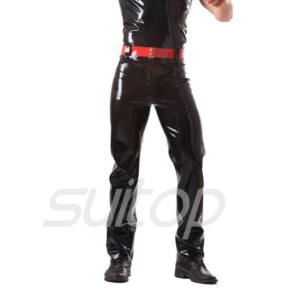 Buy Suitop 0.4mm latex rubber glued leggings front zip pants trousers belt jeans