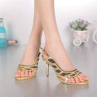 Kadınlar Yaz Yeni Lüks Ayakkabı Satış Online Ile Deri Yüksek Topuklu Açık parmaklı Sandalet Elmas Yüksek Kalite