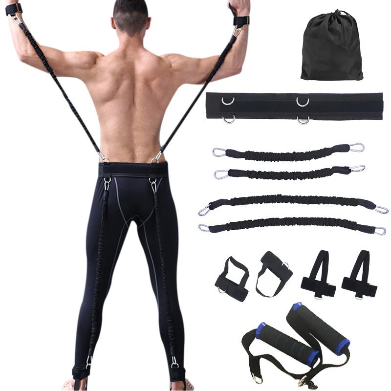 100lbs Fitness résistance bandes Set équipement d'entraînement pour bras jambes Force et agilité Force entraînement boxe basket-ball saut