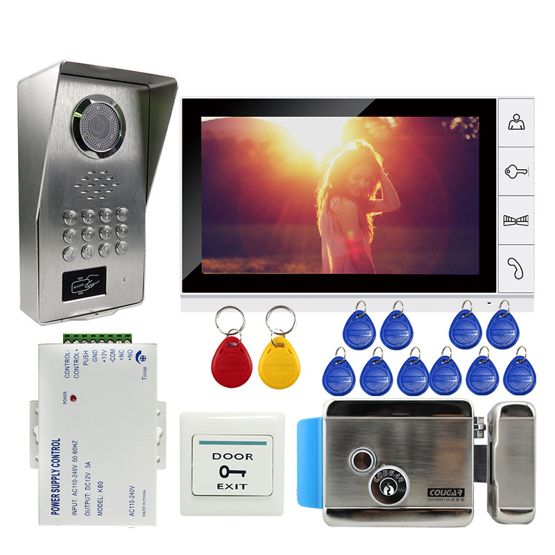 Grenseure FREE SHIPPING 9 Monitor Video Intercom Door bell Phone System RFID Code Keypad Outdoor Camera + Mechanical Door Lock grenseure free shipping 9 lcd monitor video intercom door phone system rfid code keypad outdoor camera electromagnetic lock