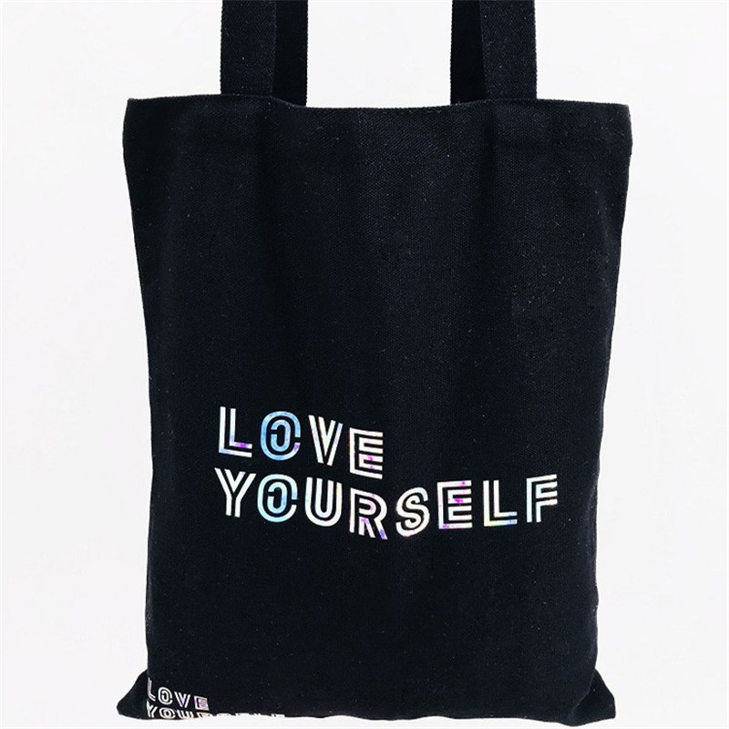 Kpop Bts Suga Jimin Canvas Travel Bags Love Yourself Tear Funny New Album Fake Love Bags Large Capacity Shopping Bag Women Wt077 Luggage & Travel Bags