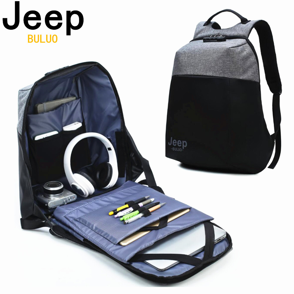 JEEP BULUO Brand USB Charge Anti Theft Backpack Men 15inch Laptop Backpacks Fashion Travel School Bags Bagpack sac a dos mochila hot high quality usb charge anti theft backpack men 15inch laptop backpacks fashion travel school bags bagpack sac a dos mochila