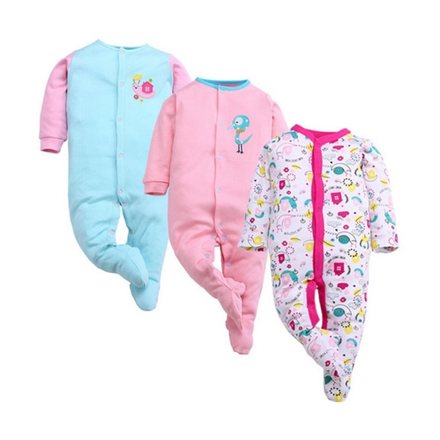 1 Piece 0-12M Baby Rompers Cute Pink Baby Girl Boy Clothing Infant Baby Girl Clothes Jumpsuits Footed Coverall GL001740695