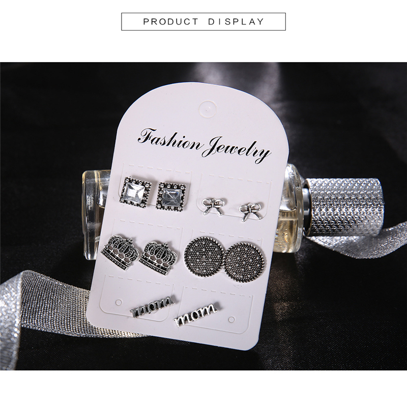 5 pieces set of temperament sweet ladies earrings fashion crown bow round shape earrings to send girlfriends party gift B405 in Stud Earrings from Jewelry Accessories