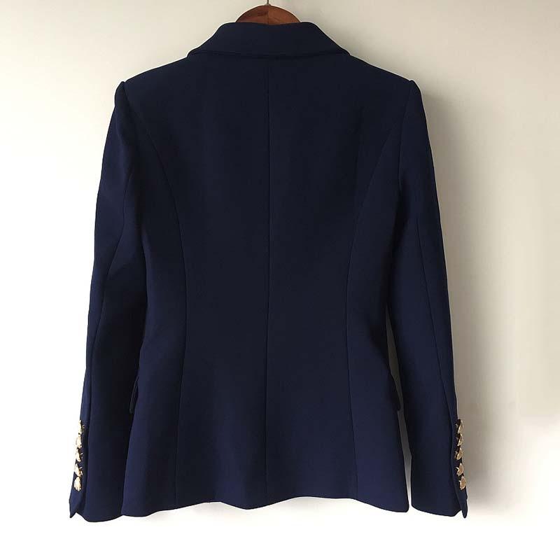 Mode Manteau Automne Double En Hiver Boutonnage Métal Dames Extérieure Designer À Vêtements 2018 Veste Bleu Lion Boutons Femmes Piste T5BR5xrwq