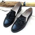 Genuine leather big woman US size 11 designer vintage flat shoes round toe handmade red black 2017 oxford shoes for women fur
