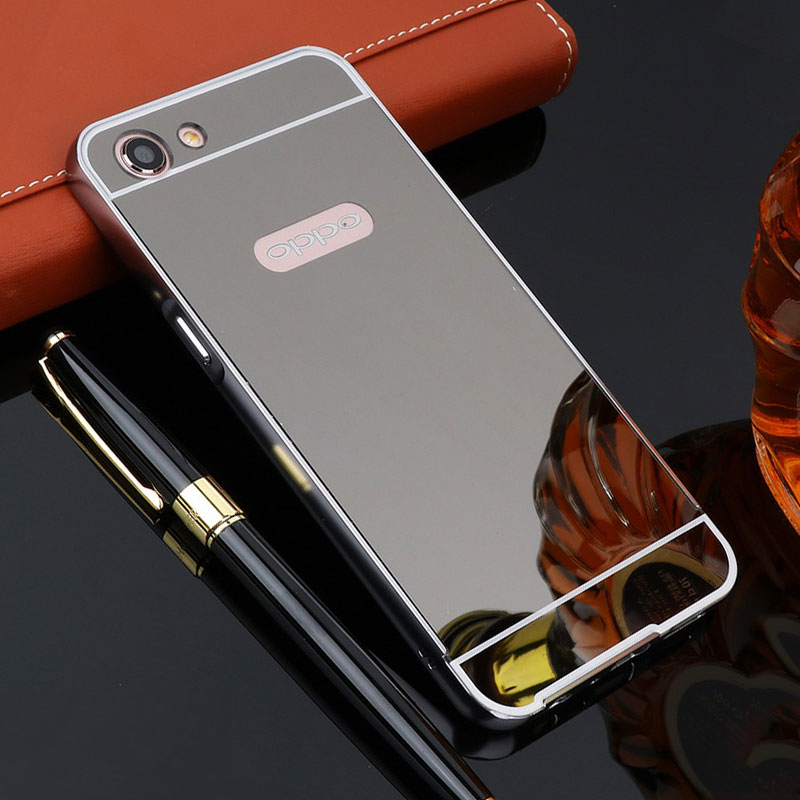 For OPPO A83 Case 5.7'' Plating Mirror Aluminum Metal Frame Bumper +Hard PC Back Cover for OPPO A 83 A83T A83M Phone Cases Funda