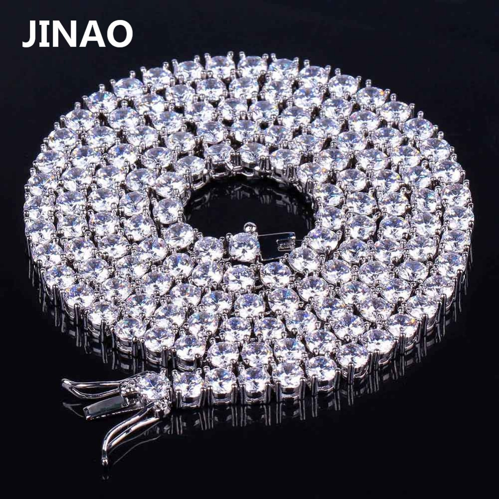 JINAO Hip Hop Gold Silver Necklace AAA Cubic Zirconia Micro Paved All Iced Out Tennis Bling Lab CZ Stones Necklace 20