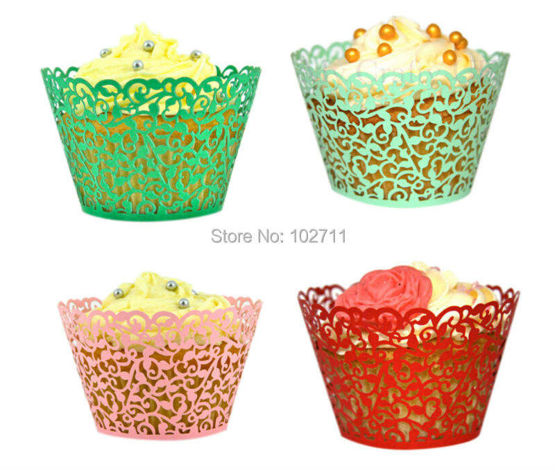 e6b79533d 600 pcs Beautiful Pink White Ivory Blue Mint Black Red Metallic Foil Gold  Lace Wedding Cupcake Liners Baking Cup Cupcake Wrapper